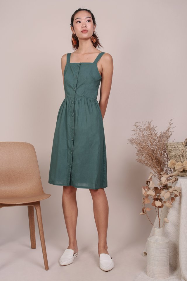 Laurie Button Down Dress (Slate Green)