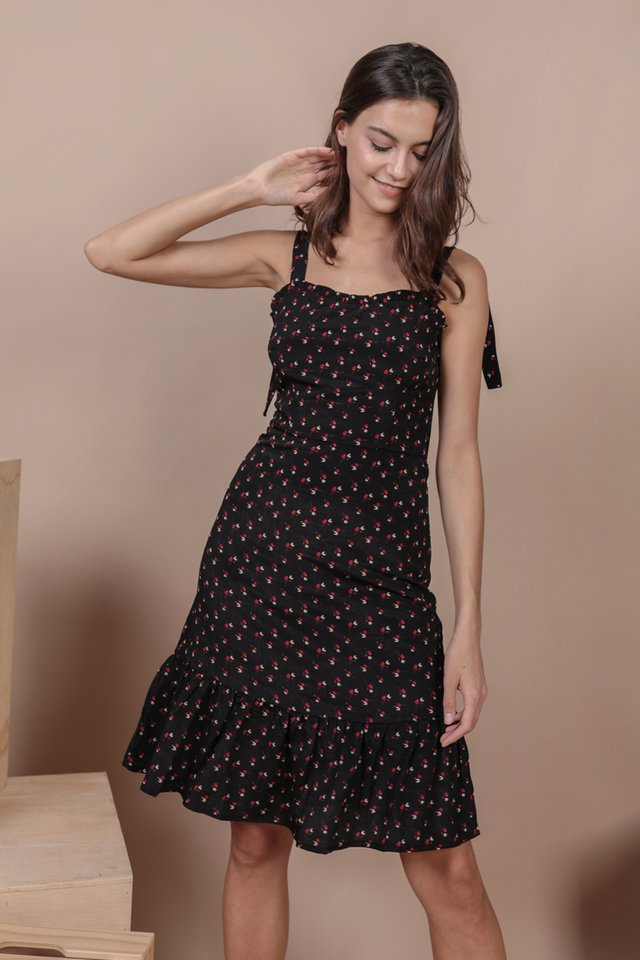 Talia Midi Dress (Black Rosebuds)