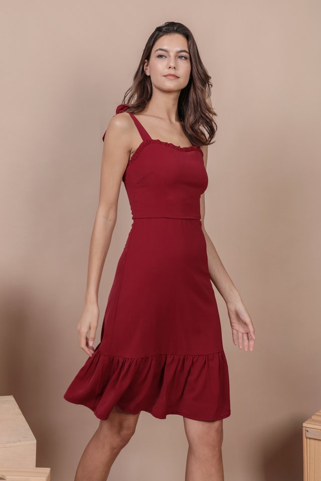 Talia Midi Dress (Maroon)