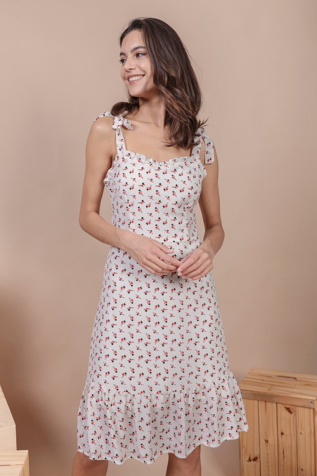 Talia Midi Dress (White Rosebuds)