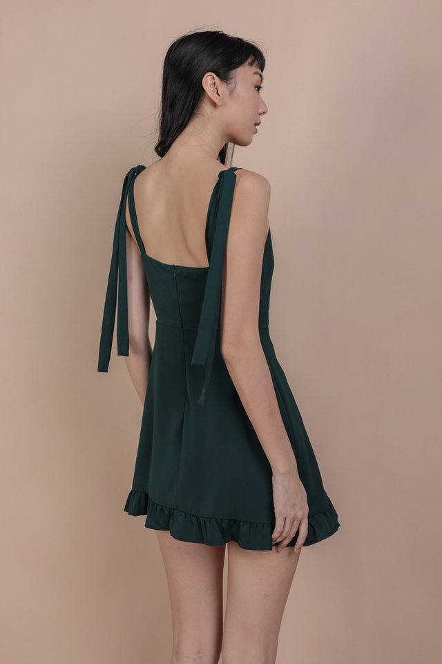 Shay Ruffles Romper (Forest Green)