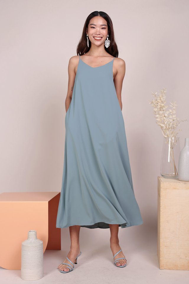 Faye Maxi Dress (Dusty Blue)