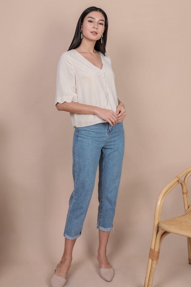 Danica Scallop Sleeve Top (Cream)