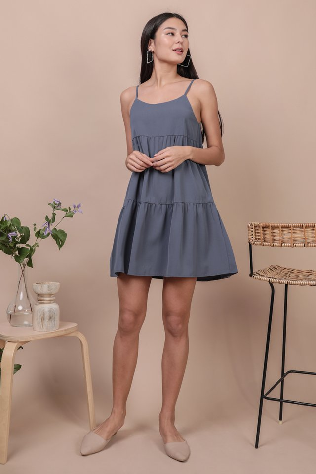 Emmy Tiered Spag Dress (Dusty Blue)