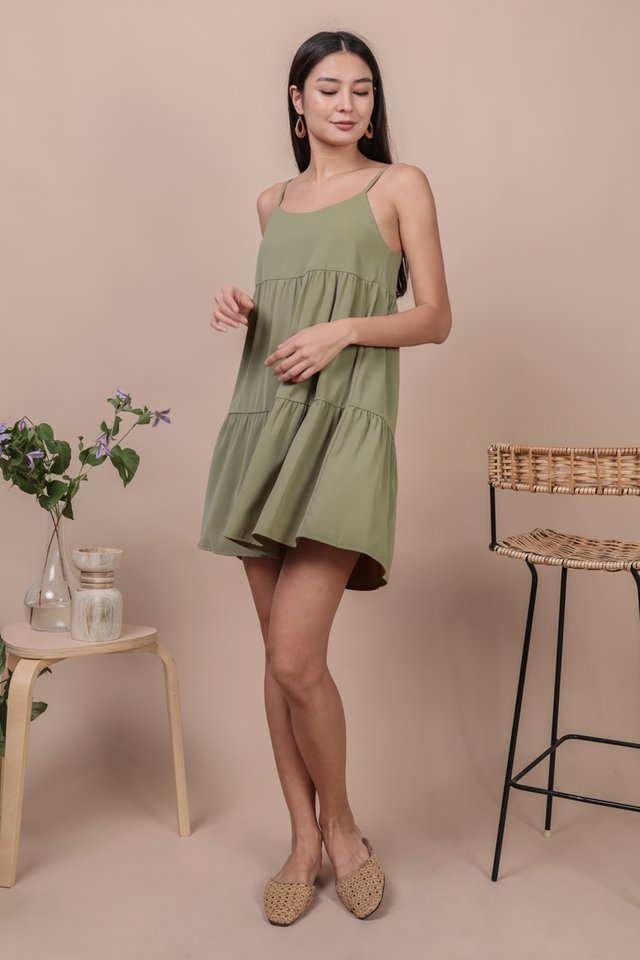 Emmy Tiered Spag Dress (Sage Green)