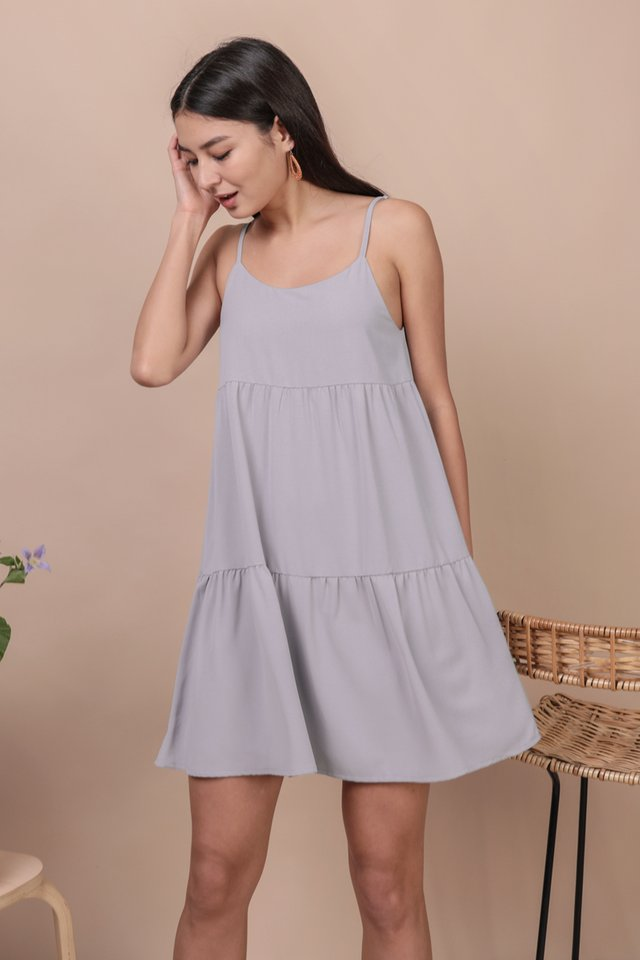 Emmy Tiered Spag Dress (Lilac Grey)