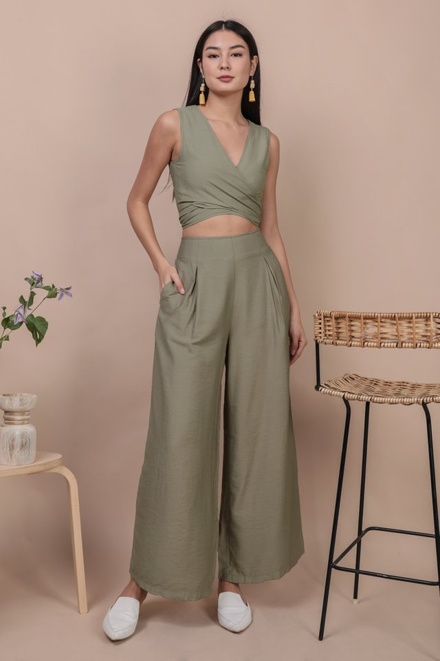 Alton Wide Leg Pants (Sage Green)