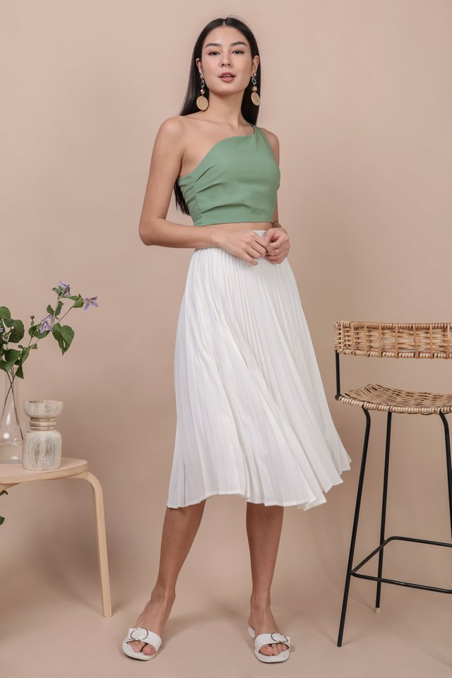 Courtney Pleated Midi Skirt (White)
