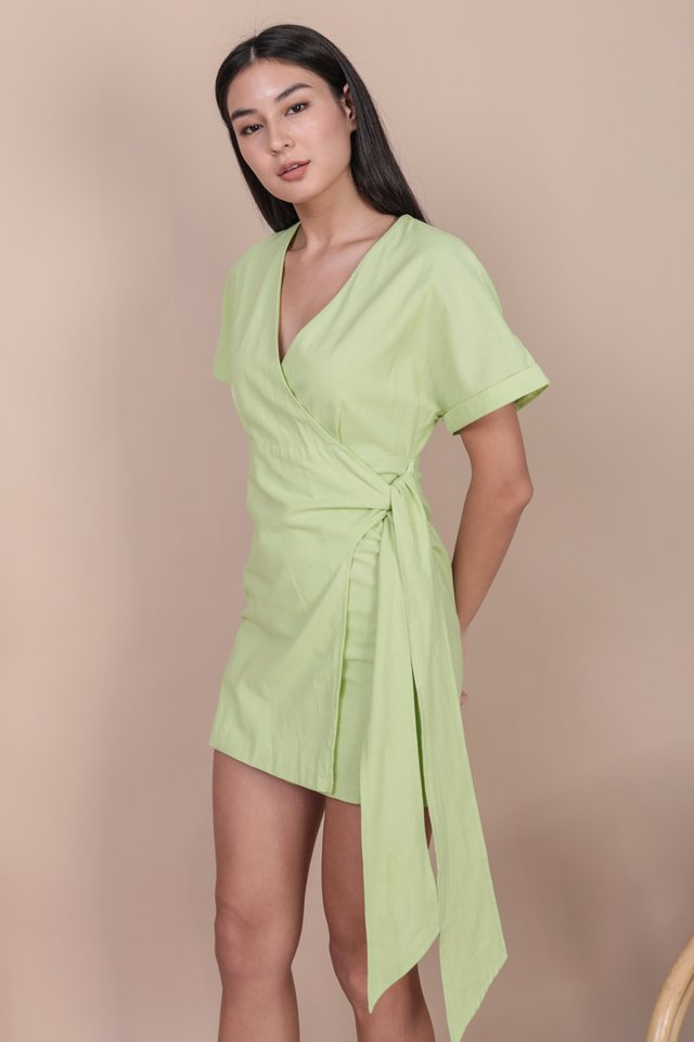 Callie Wrap Front Dress (Apple Green)