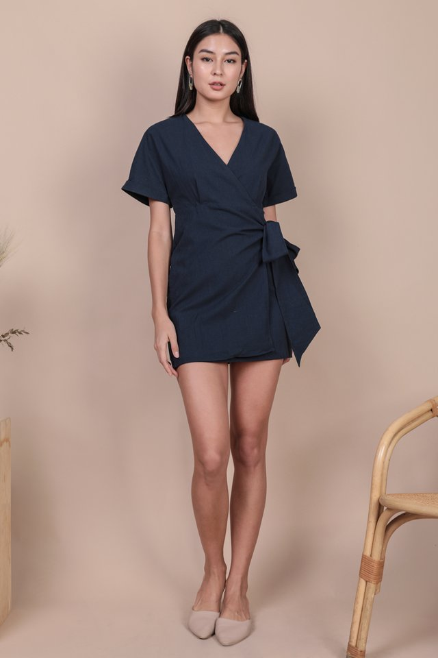 Callie Wrap Front Dress (Navy)