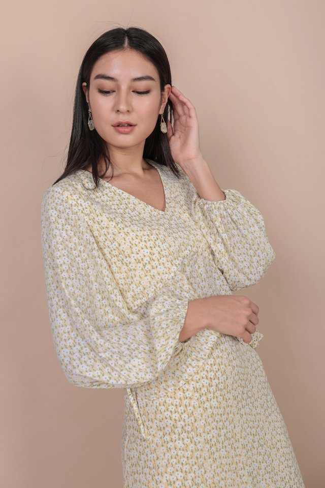 Melia Drawstring Top (Yellow Blooms)