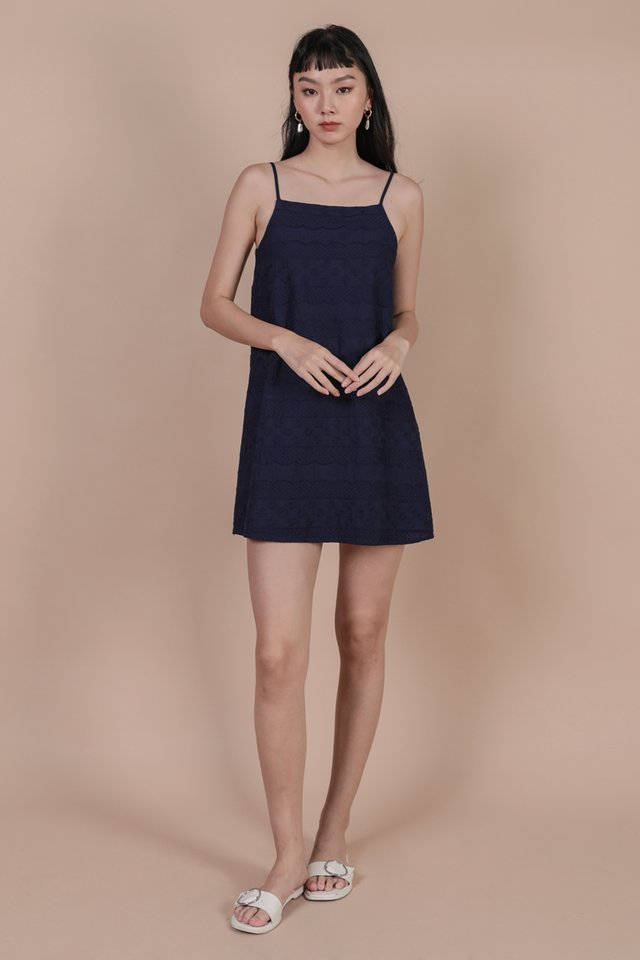 Chelsy Spag Dress (Navy Embroidery)