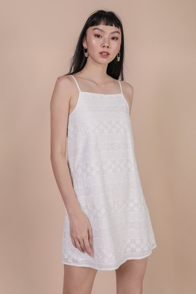 Chelsy Spag Dress (White Embroidery)