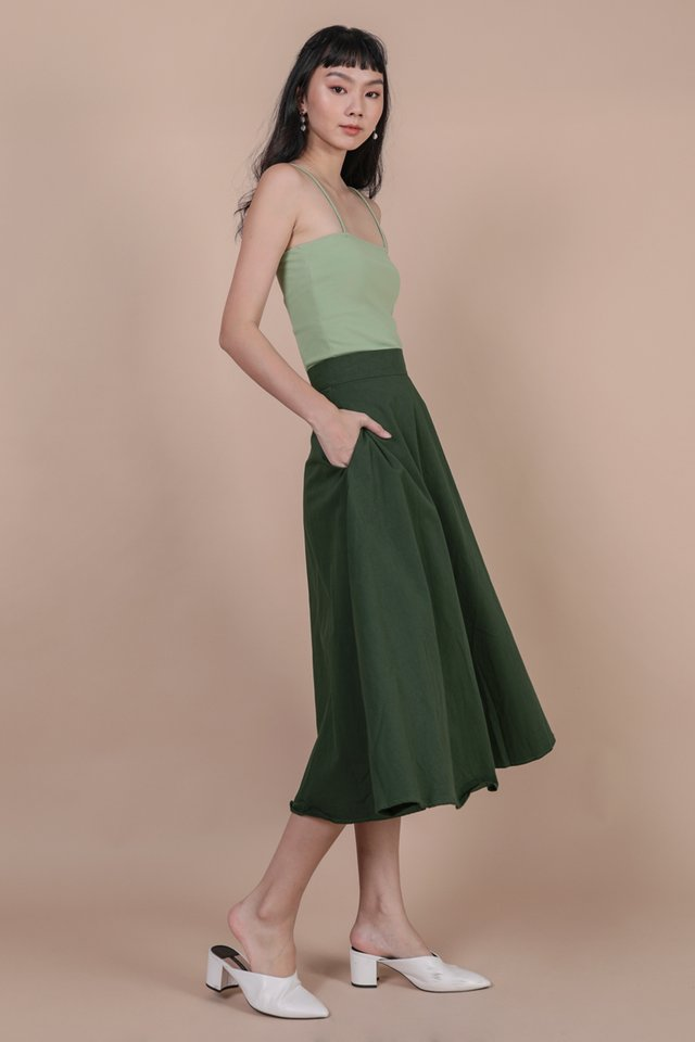 Chance Midi Skirt (Forest Green)