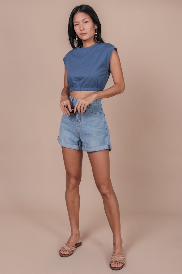 Leyla Cropped Top (Steel Blue)