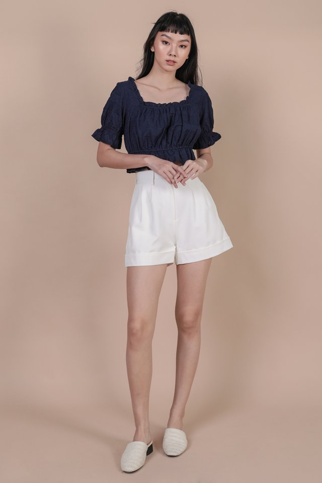 Myra Puffy Sleeve Top (Navy Embroidery)