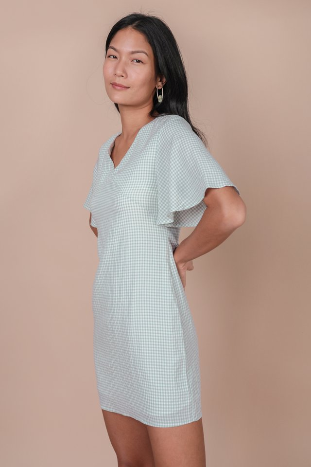 Verona Flare Sleeve Dress (Gingham)