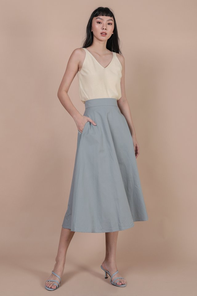 Chance Midi Skirt (Dusty Blue)