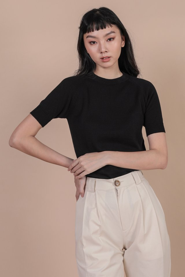 Darin Sleeve Knit Top (Black)