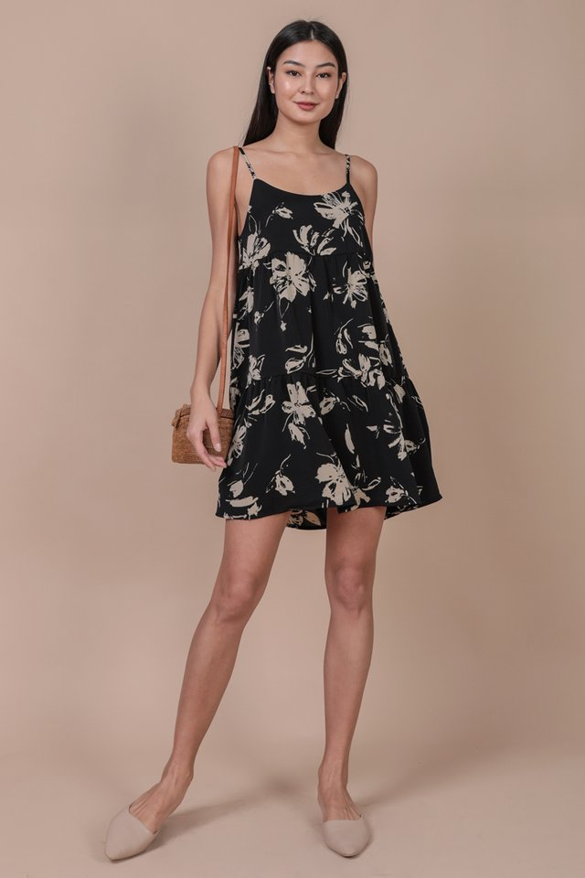 Emmy Tiered Spag Dress (Abstract Florals)