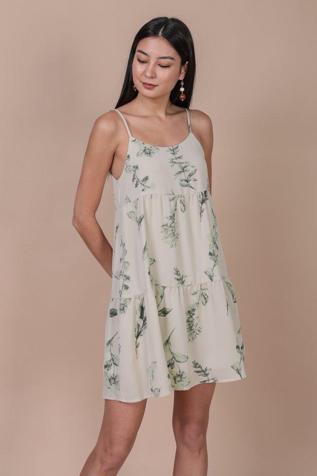 Emmy Tiered Spag Dress (Botanical)