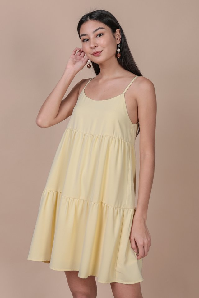Emmy Tiered Spag Dress (Daffodil Yellow)