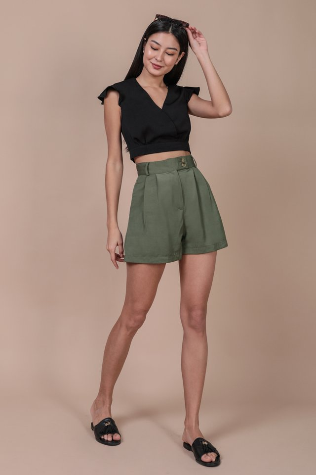 Oda Button Shorts (Olive)