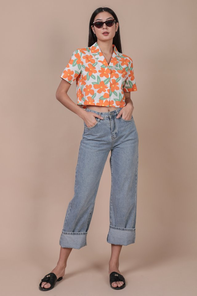 Parco Collared Top (Tropical Orange)