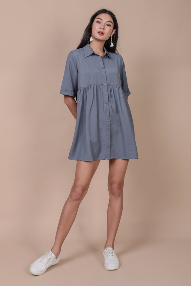 Perry Babydoll Dress (Dusty Blue)