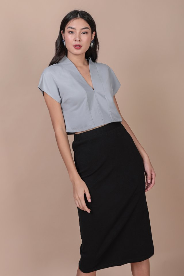 Tayler Cropped Blouse (Ash Blue)