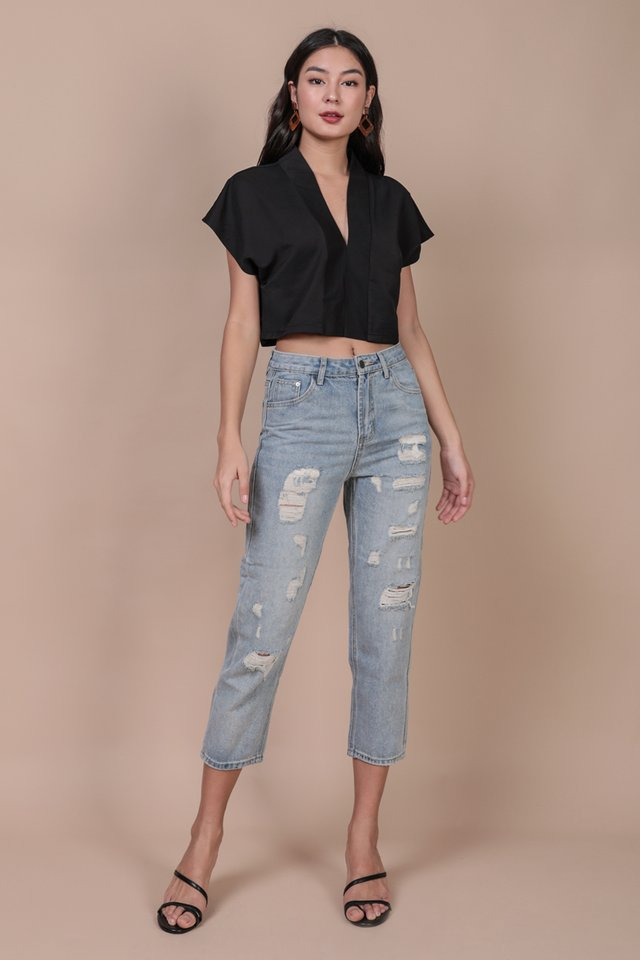 Tayler Cropped Blouse (Black)