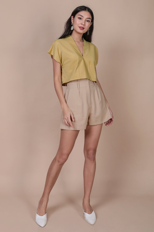 Tayler Cropped Blouse (Lemon)