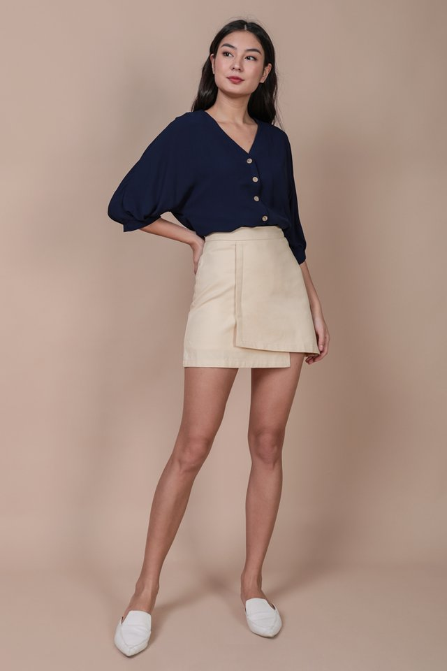 Arona Button Sleeve Blouse (Navy)