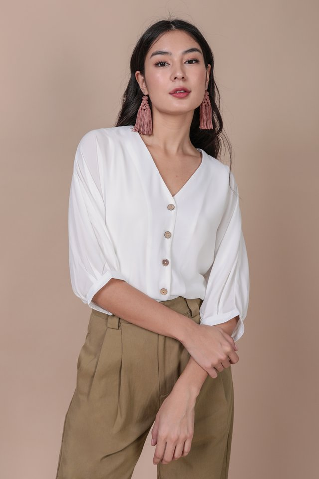 Arona Button Sleeve Blouse (White)