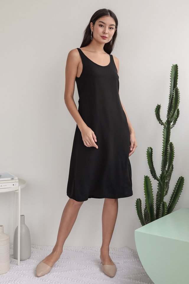 Glenda Midi Dress (Black)