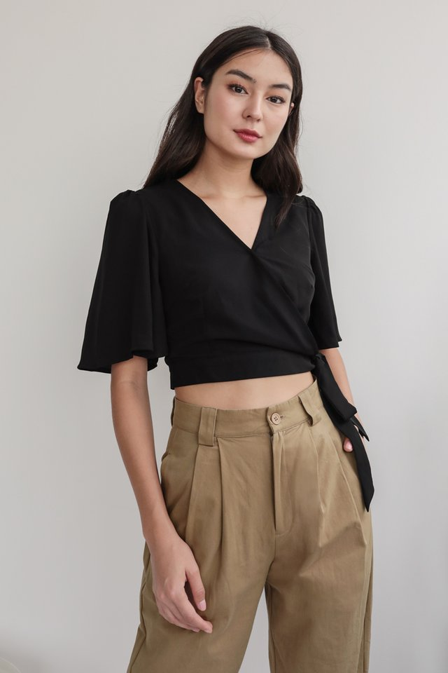 Nella Wrap Front Top (Black)