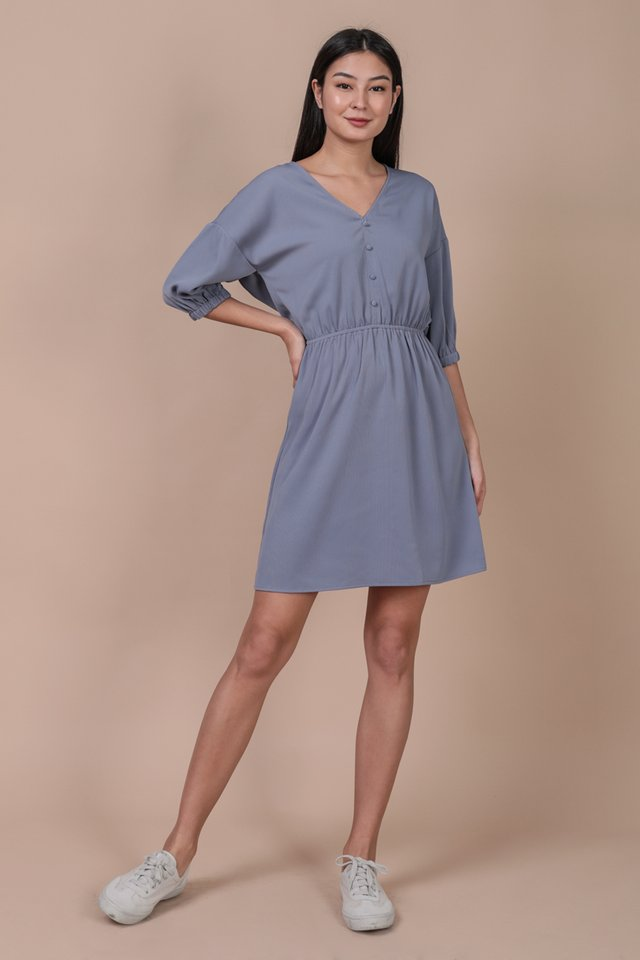 Sania Button Dress (Dusty Blue)