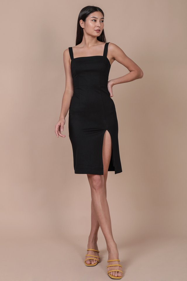 Caris Midi Dress (Black)