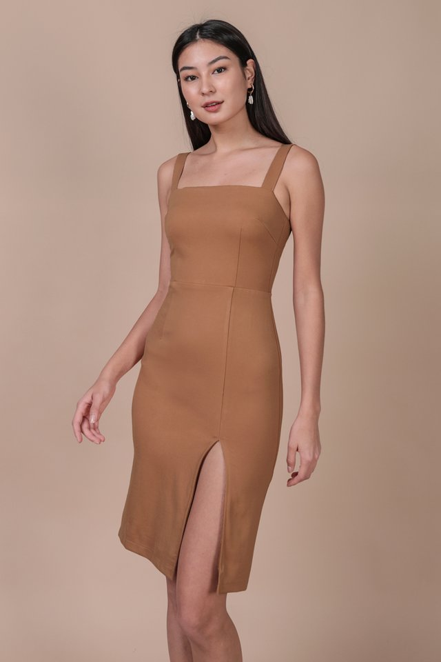 Caris Midi Dress (Camel)