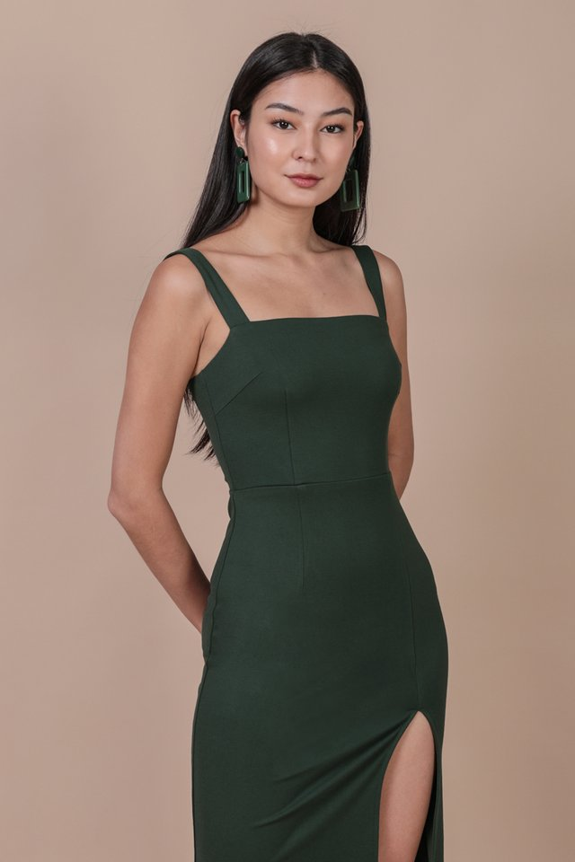 Caris Midi Dress (Hunter Green)