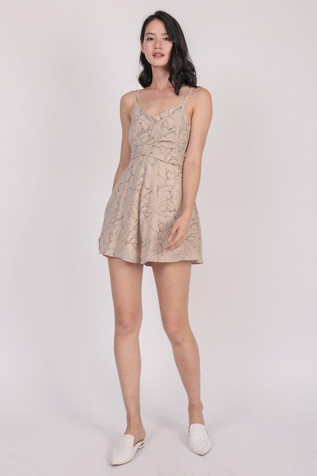 Deena Wrap Front Romper (Nude Florals)
