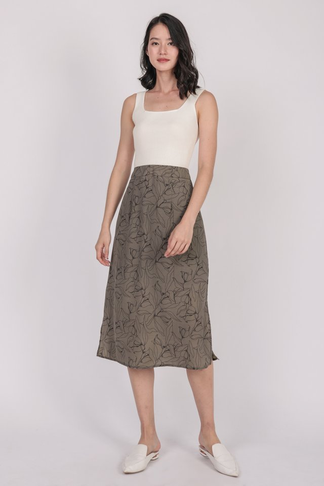 Issa Skirt (Taupe Florals)