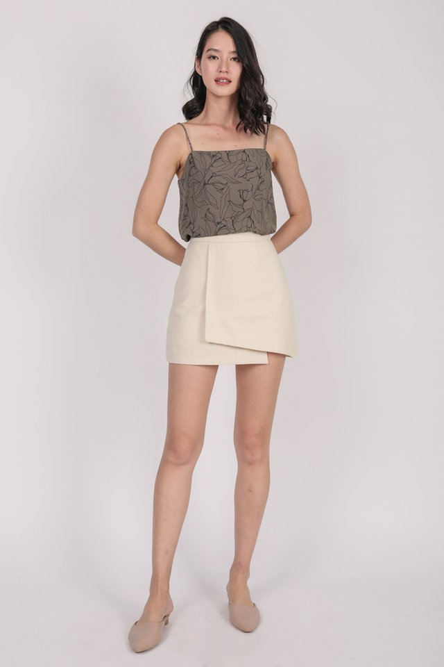 Suggy Spag Top (Taupe Florals)