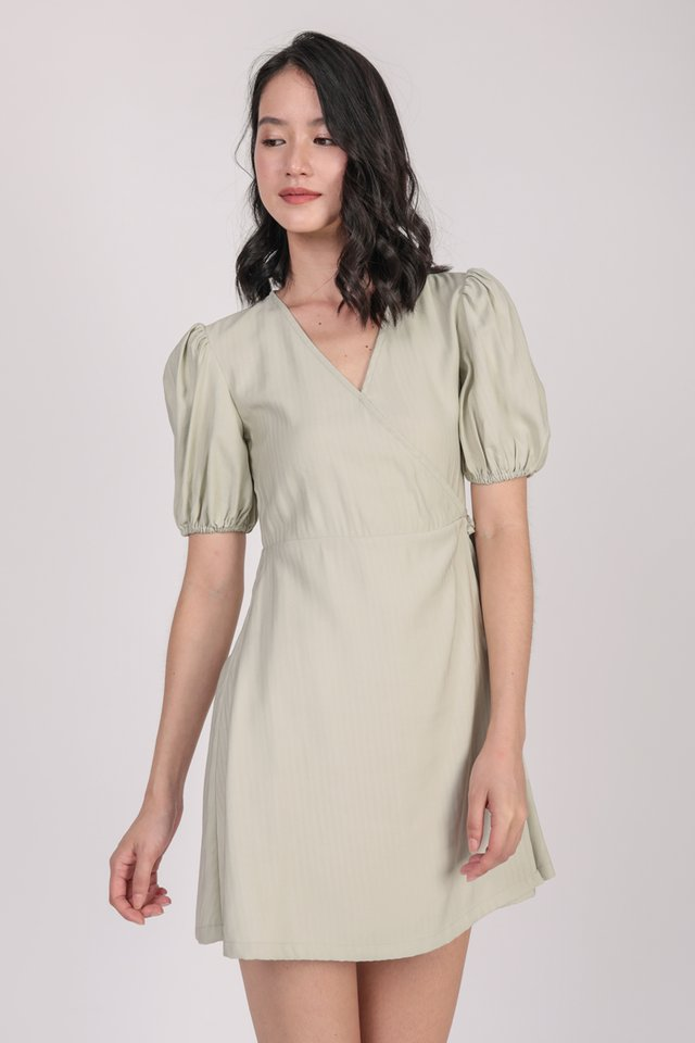 Terri Wrap Front Dress (Light Mint)