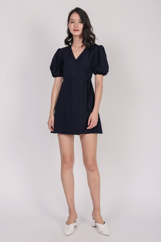Terri Wrap Front Dress (Navy)