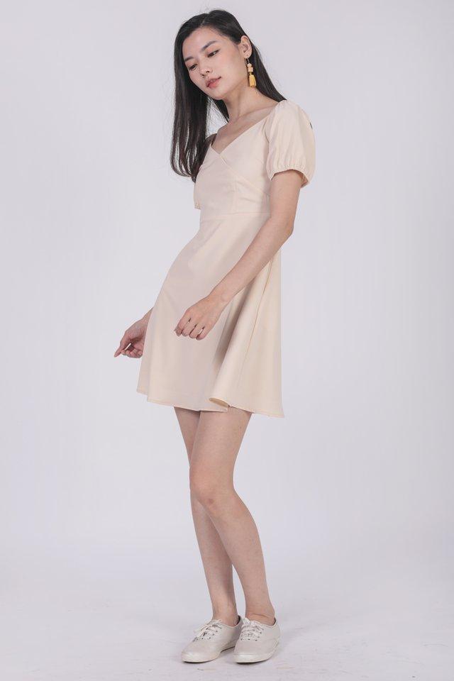 Trisha Puffy Sleeve Dress (Cream)