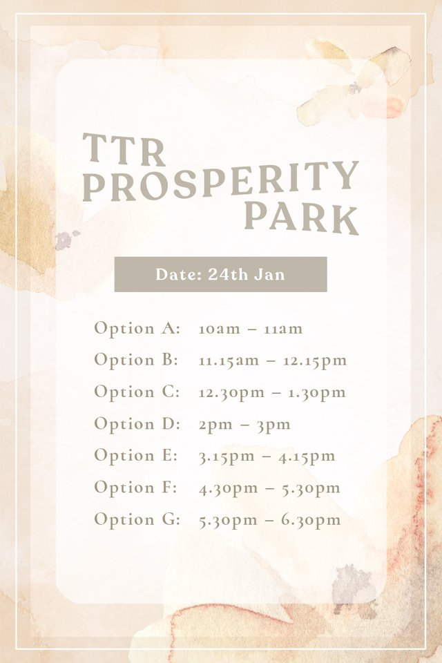 TTR Prosperity Park 24th Jan (For you and your BFF)