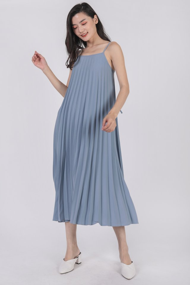 Adina Pleated Dress (Sky)