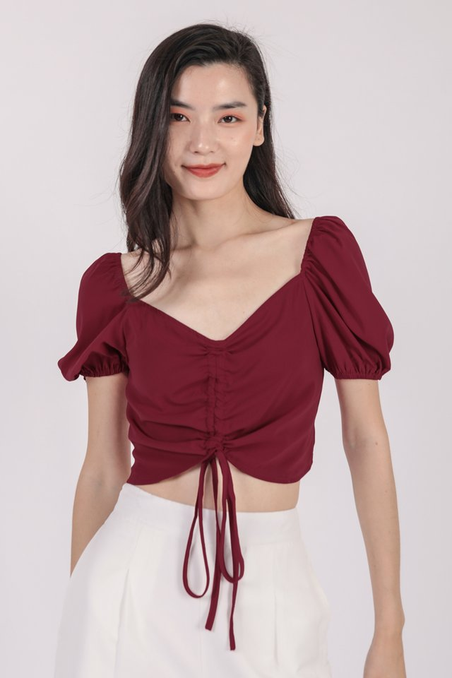 Alara Drawstring Top (Cherry)
