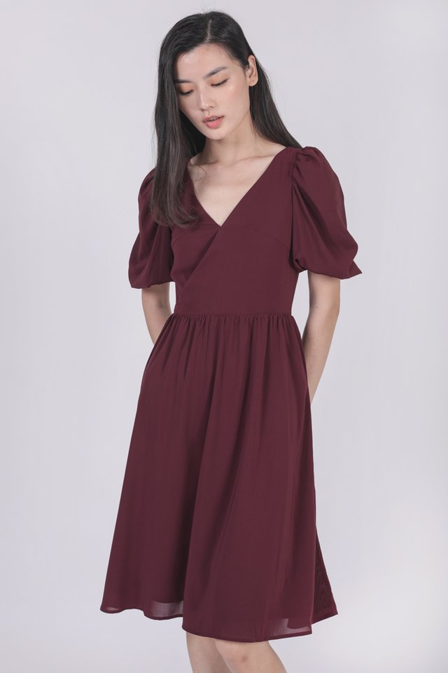 Briella Puffy Sleeve Dress (Plum)